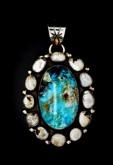 Kingman Turquoise & White Buffalo Turquoise Sterling Silver Pendant