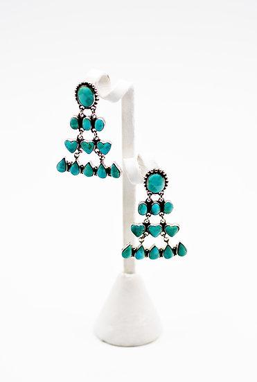 Genuine Kingman Turquoise Sterling Silver Southwest Post Dangle Earrings