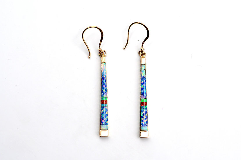 14K Solid Gold & Fire Opal Micro Inlay Earrings