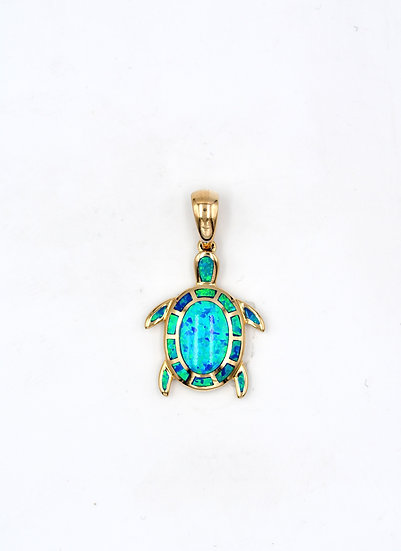 14K Solid Gold & Blue Fire Opal Turtle Pendant