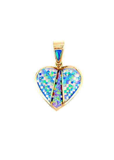 14K Solid Gold & Fire Opal Micro Inlay Heart Shape Pendant