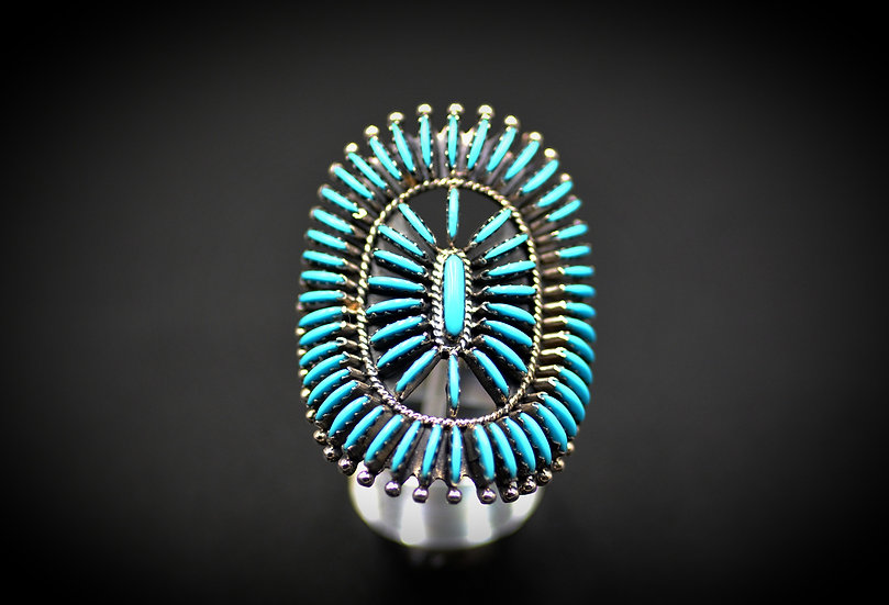 Navajo Sterling & Genuine Turquoise Needlepoint Cluster Ring