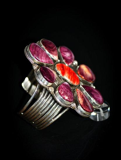 Navajo Spiny Oyster 925 Sterling Silver Bracelet
