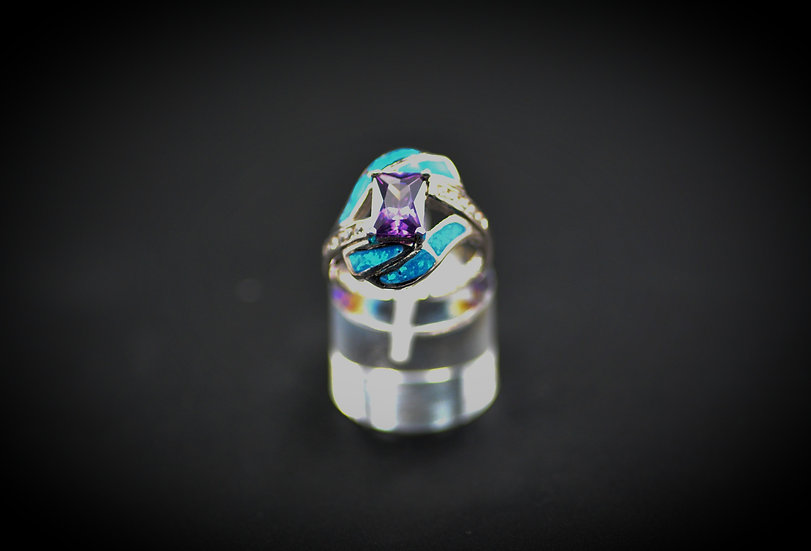 Princess Cut Amethyst & Blue Fire Opal Ring
