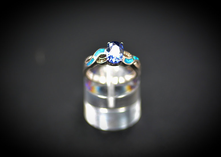 Oval Tanzanite & Blue Fire Opal Inlay Ring