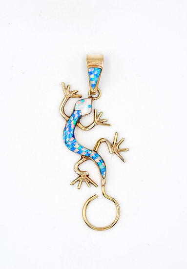 14K Solid Gold & Fire Opal Micro Inlay Geco Pendant