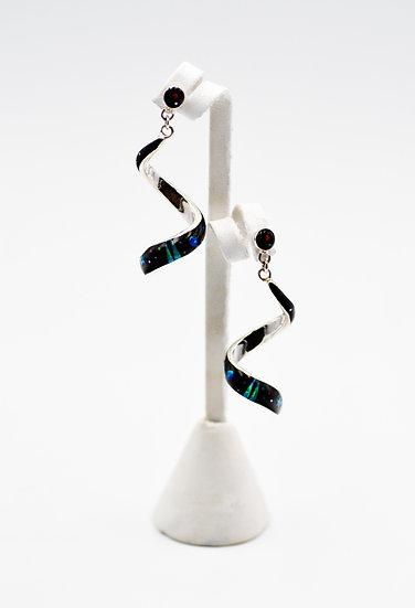 Micro Inlay Black Onyx & Fire Opal Sterling Silver Earrings
