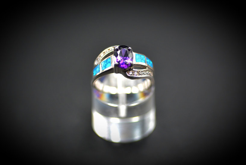 Oval Amethyst & Blue Fire Opal Inlay Ring