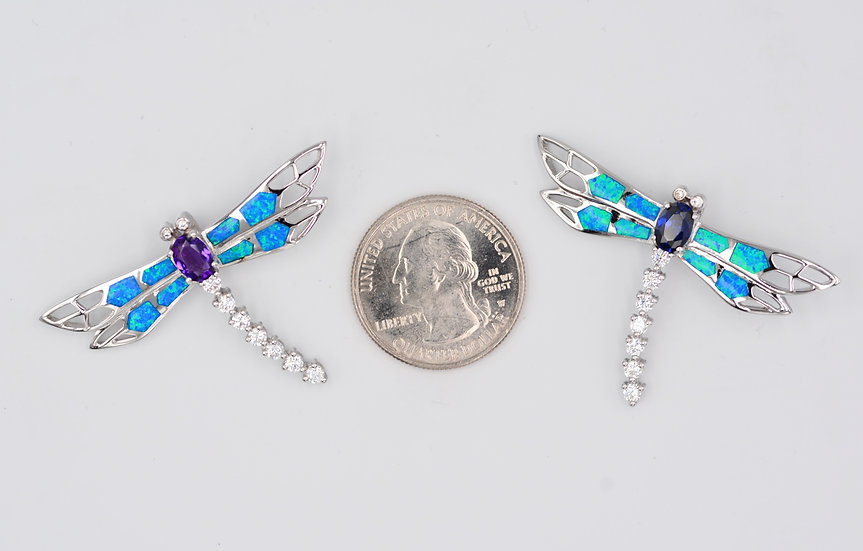 Blue Fire Opal Sterling Dragonfly Pendant with Amethyst or Tanzanite