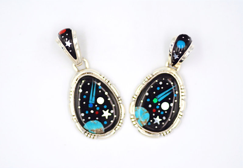 Southwest Night Sky Multicolor Inlay Sterling Silver Pendant