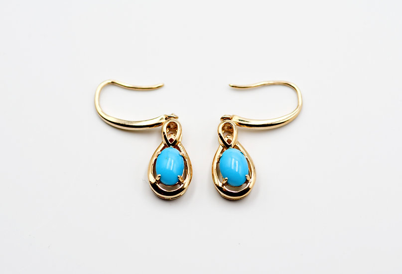 14K Solid Gold with Sleeping Beauty Turquoise Tear Drop Earrings