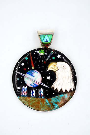 Southwest Galaxy & Eagle Inlay Sterling Silver Round Pendant