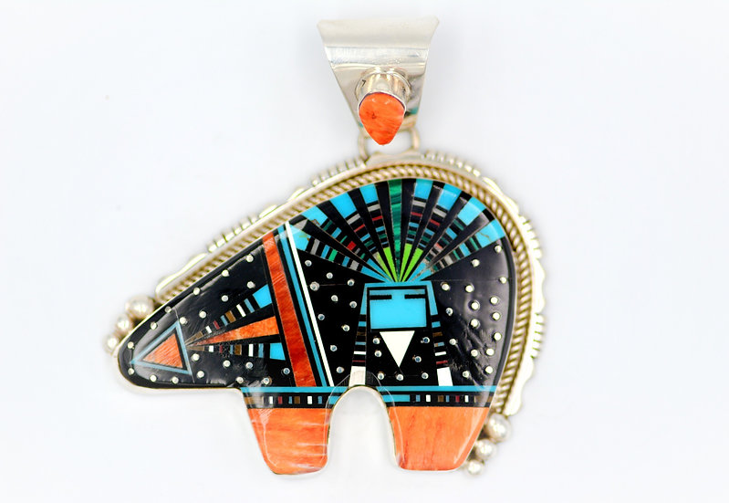 Southwest Night Sky Multicolor Sterling Silver Kachina Spirit Bear  Pendant