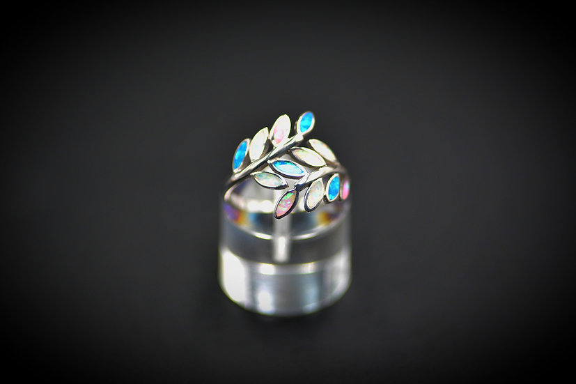 Small Sterling Silver Leaf Multicolor Opal Ring