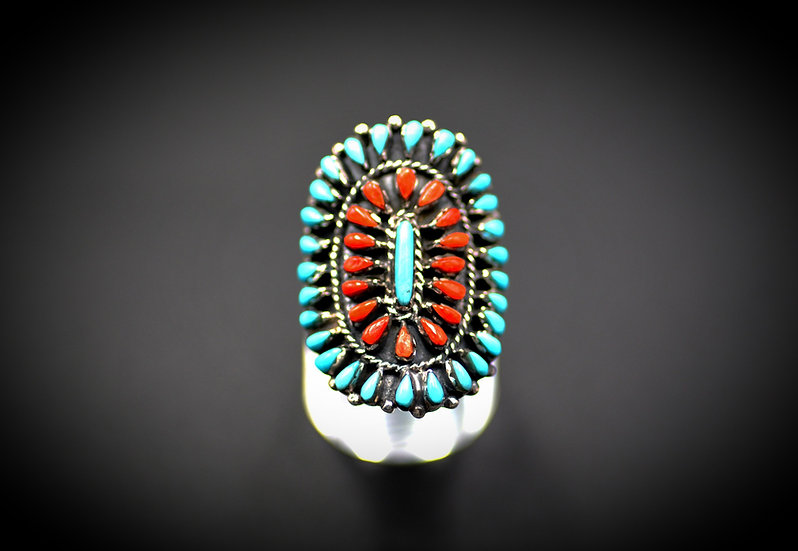 Turquoise & Coral Petit Point  Navajo Sterling Silver Ring