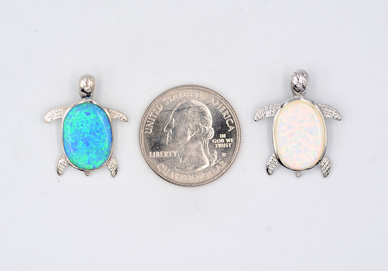 Blue or White Fire Opal Sterling Turtle Pendant