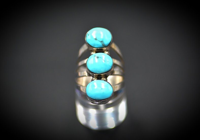Sterling Silver Boho Three Stone Turquoise Ring