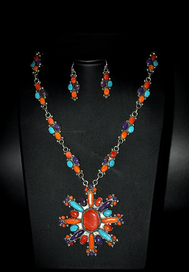 Hand Crafted Genuine Multicolor Stone Necklaces Set