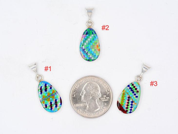 Micro Inlay Sterling Silver Tear Drop Fire Opal Pendants One of a Kind