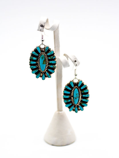Turquoise Sterling Silver Squash Blossom Dangle Earrings
