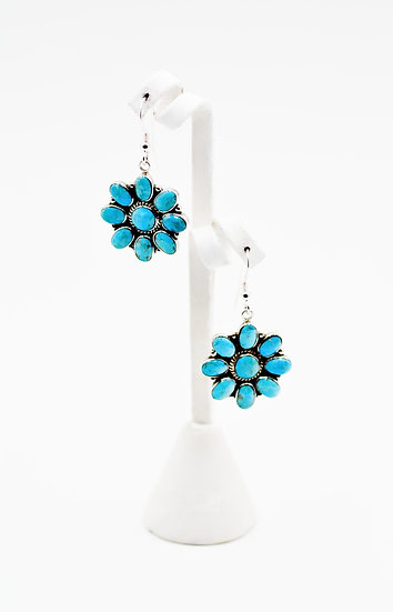Kingman Turquoise 925 Sterling Silver Southwest Style Earrings