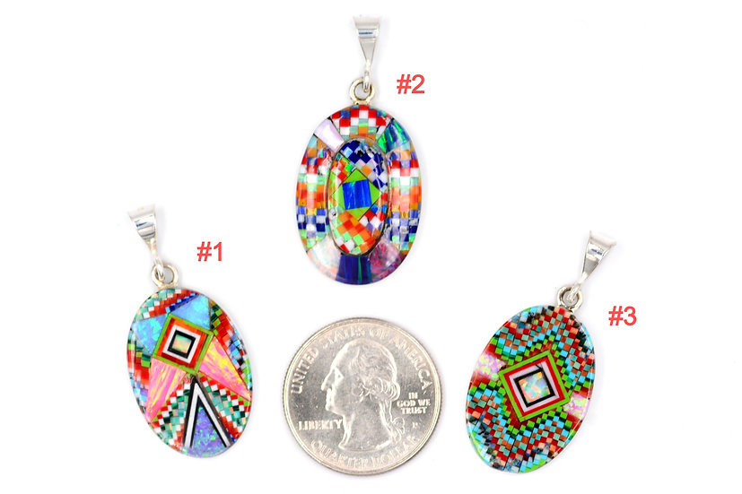 Micro Inlay Sterling Silver Large Tear Drop Fire Opal Pendants One of a Kind