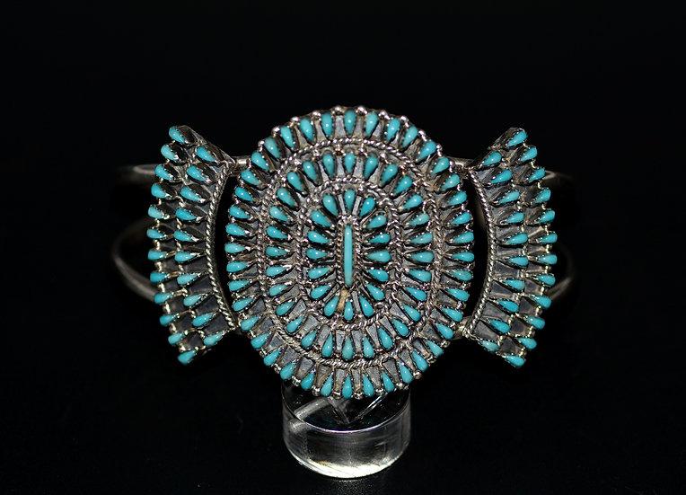 Genuine Sleeping Beauty Turquoise 925 Sterling Silver Cuff Cluster Bracelet