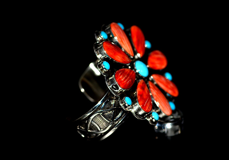 Navajo Spiny Oyster & Sleeping Beauty Turquoise 925 Sterling Silver Bracelet