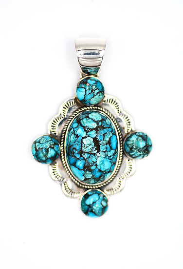 Kingman Spiderweb Turquoise Handmade Oval Large Sterling Silver