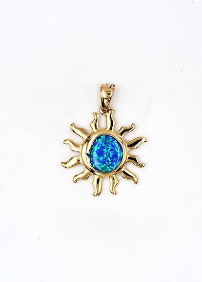 14K Solid Gold & Blue Fire Opal Sun-Face Pendant