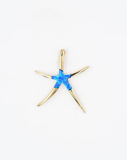 14K Solid Gold & Blue Fire Opal Starfish Pendant