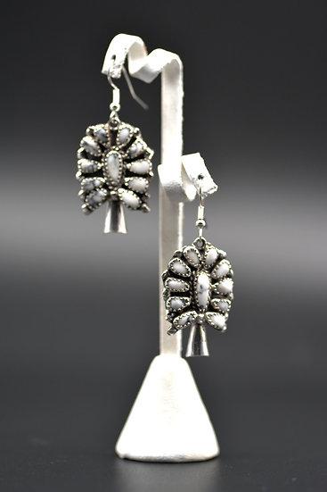 White Buffalo Turquoise Sterling Silver Squash Blossom Dangle Earrings