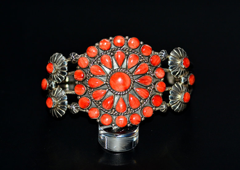 Navajo Style Sterling Silver Red Coral Cluster Cuff Bracelet