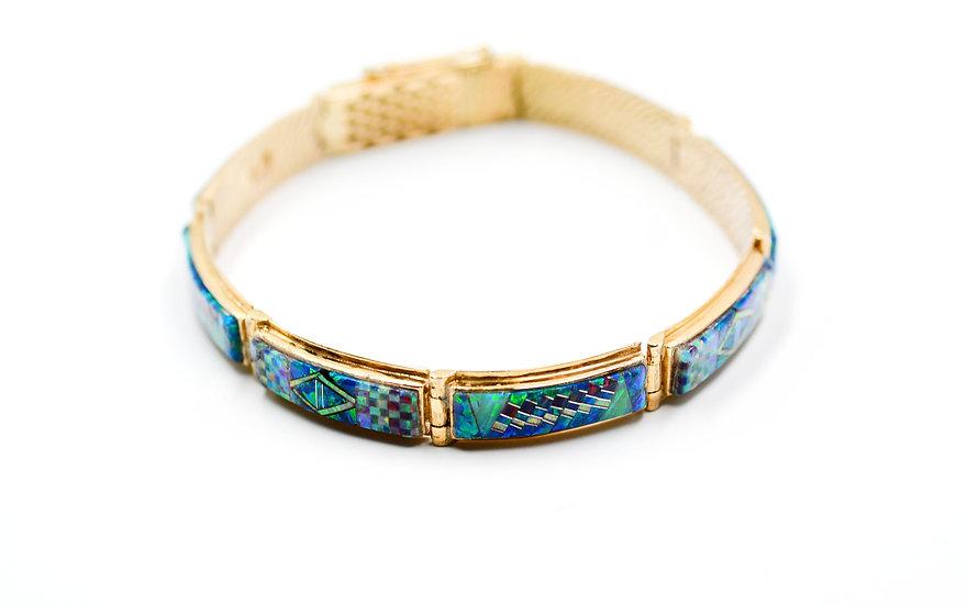 14K Solid Gold & Fire Opal Southwest Style Bracelet