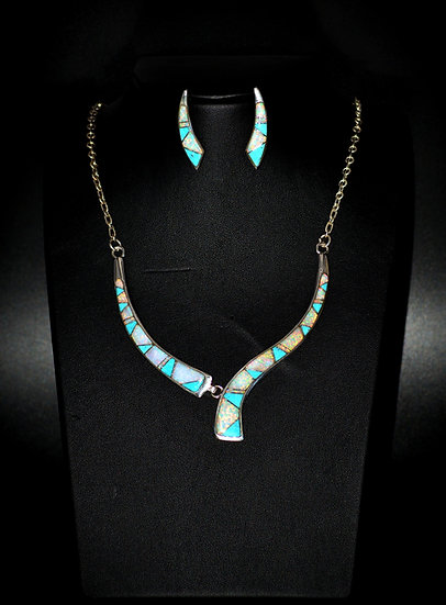 White Fire Opal & Kingman Turquoise Necklaces Set