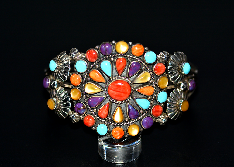 Navajo Style Sterling Silver Multicolor Cluster Cuff Bracelet
