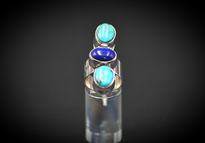 Blue Lazuli & Turquoise Sterling Silver Ring