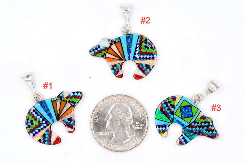 Micro Inlay Sterling Silver Bear Spirit Fire Opal Pendants One of a Kind