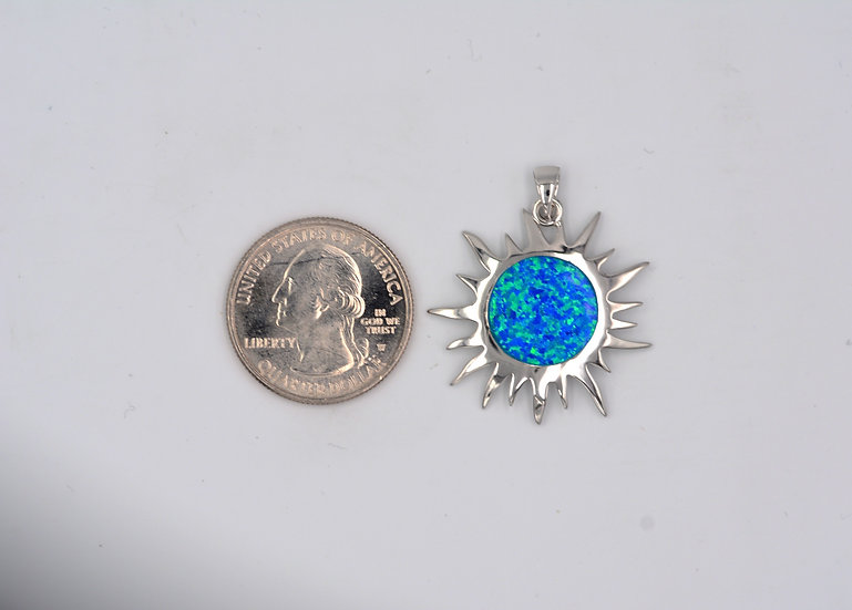 Blue Fire Opal Sterling Sun Pendant with Amethyst or Tanzanite