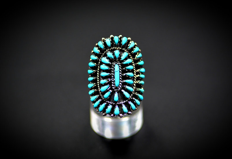 Turquoise Petit Point  Navajo Sterling Silver Ring