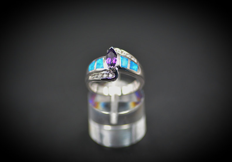 Marquise Amethyst & Blue Fire Opal Ring