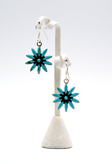 Daisy Inspired Turquoise Dangle Earrings
