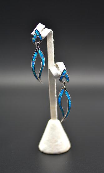 Blue Fire Inlay Dangling Post Earrings