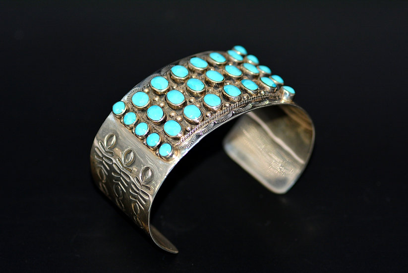Cabochon Turquoise Sterling Silver Cuff Bracelet