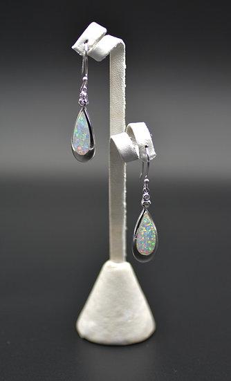 White Fire Opal Inlay Sterling Silver Dangling Wire Earrings