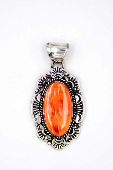 Spiny Oyster Oval Sterling Silver Pendant