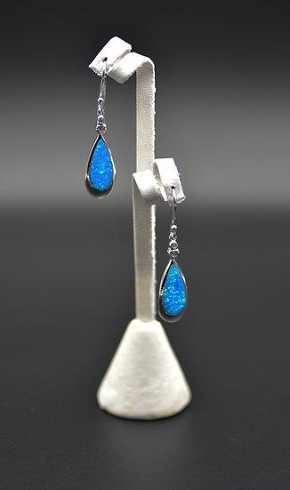 Blue Fire Opal Inlay Sterling Silver Dangling Wire Earrings