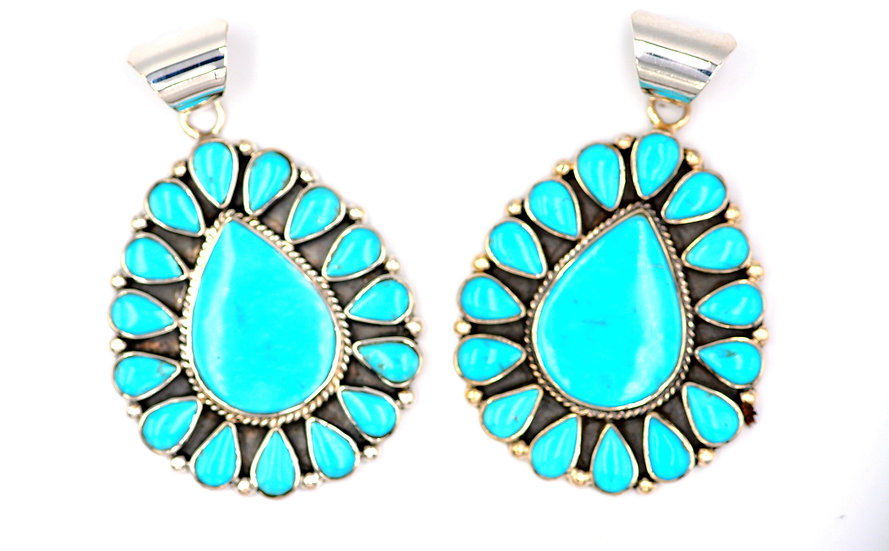 Kingman Turquoise Handmade Oval Large Sterling Silver