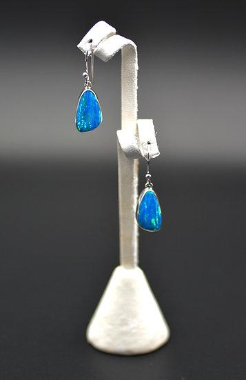 Teardrop Blue Fire Opal Dangling Earrings