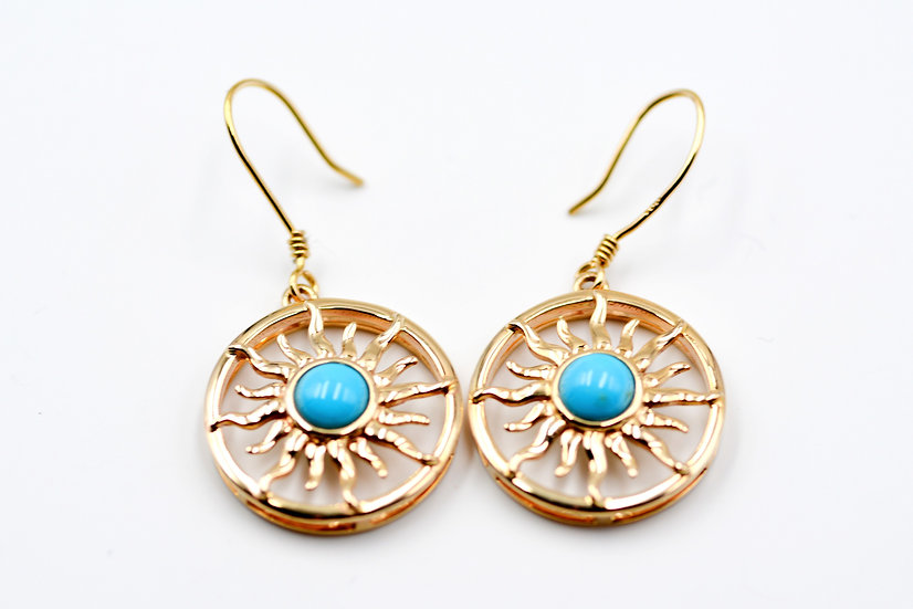 14K Solid Gold with Sleeping Beauty Turquoise Sun Earrings